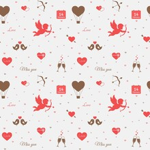 Valentines Day Seamless Pattern. Love Romantic Background With Hearts And Cupid