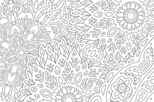 Coloring Book Page With Abstract Floral Pattern