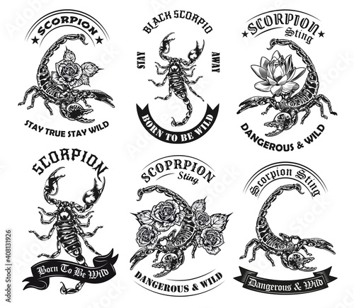 Fotomural Wild scorpion monochrome tattoos and round labels vector illustration set