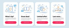 Set Of Business Icons, Such As Friends World, Book, Update Document Symbols. Mobile Screen App Banners. Restructuring Line Icons. Love, E-learning Course, Refresh File. Delegate. Vector