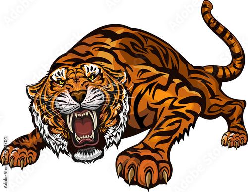 Canvas Print Tiger color tattoo