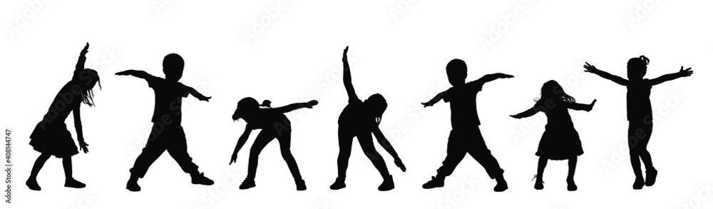 Fototapeta Happy joyful kids, little boys and girls doing exercise vector silhouette isolated on white background. Funny playing plane game. Spread hands flying symbol widespread hands open. Smiling children.
