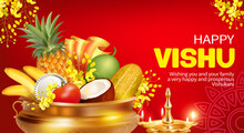 Greeting Banner With Golden Diya (oil Lamp) And Traditional Vessel Uruli With Fruits And Konna Flowers (cassia Fistula) For South Indian New Year Festival Vishu (Vishukani). Vector Illustration.