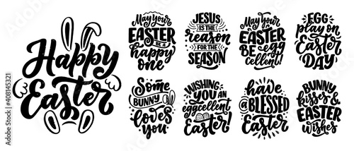 Canvas Print Set with calligraphy lettering slogans about Easter for flyer and print design