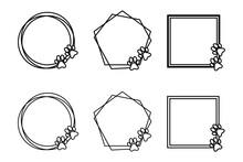 Paw Frame, Pet Print Doodle Frame, Monogram Vector Frame