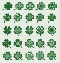 25 Clover Leaf Designs For Design Element, Engraving, Print On Product And So On. Vector Illustration