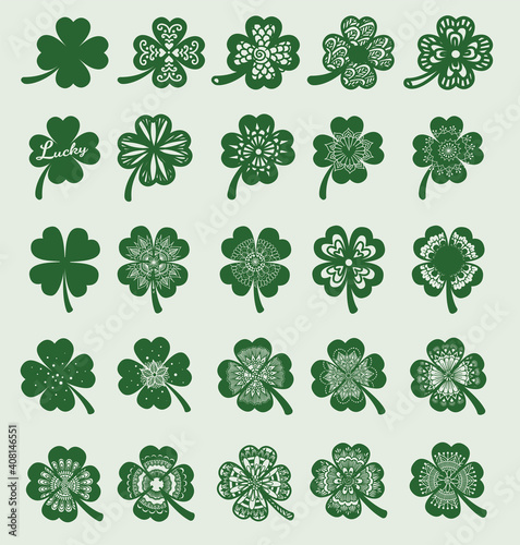 Photo 25 Clover leaf designs for design element, engraving, print on product and so on