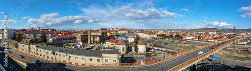 Panoramic view over the train station and the eastern part of Sibiu city, Romania