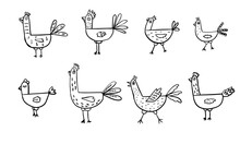 Cartoon Doodle Cute  Cocks And Different Hens Set. Hand Drawn Elementary Illustrations.