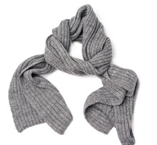 Knitted Gray Scarf Isolated On White Background, Warm Accessory