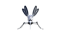 Technical Mosquito Robots, Artificial Intelligence Created In Different Perspectives With 15 Degrees Each. High Resolution Image Isolated On White Background For Your Colagen Clip Art Etc.