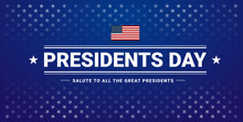 Presidents Day Banner With Presidents Day Lettering, USA Flag, Dark Blue Background, Stars And Stripes - Vector