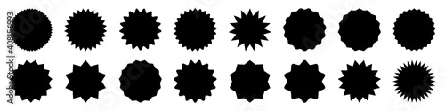 Obraz Black shopping labels collection. Sale or discount sticker. Special offer price tag. Supermarket promotional badge. Vector sunburst icon. - fototapety do salonu