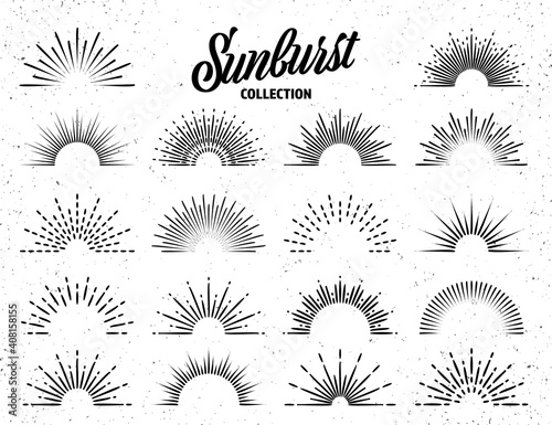 Obraz Vintage grunge sunburst collection. Bursting sun rays. Fireworks. Logotype or lettering design element. Radial sunset beams. Vector illustration. - fototapety do salonu
