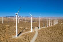 Wind Turbine In The Desert. Palm Springs Wind Farm.