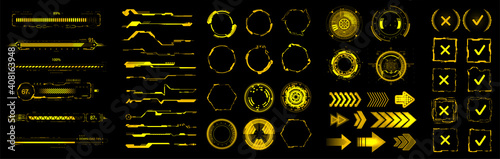 Obraz Yellow HUD, GUI, UI digital elements set for VR, web design. Futuristic User interface (charts, abstract circle, lines, loading bars and other elements) Sci-fi modern collection HUD, UI. Vector set - fototapety do salonu