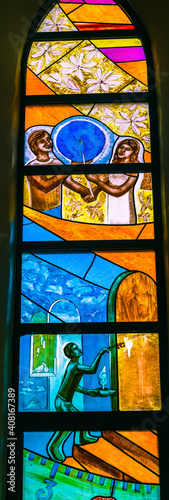 Fototapeta Colorful Polynesian Stained Glass Basilica Notre Dame Cathedral Tahiti