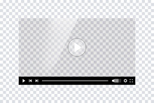Video Player Template Interface. Blank Mockup Video Player Web UI Design. Stock Vector.