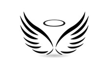 Angel Wings Symbol Of Faith Religion Christianity Catholic People Believe In God Icon Logo Vector Image