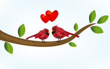 Cardinal Bird In Love On A Branch Tree. Happy Valentines Concept Love Hearts Vector Image Background Template