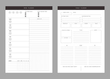 2 Set Of Minimalist Planners. Today And Weekly Planner Template. Clear And Simple Printable To Do List. Business Organizer Page. Paper Sheet. Realistic Vector Illustration.