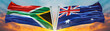 canvas print picture - Double Flag Australia and South Africa flag waving flag with texture sky Cloud and sunset background