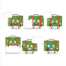 Traveling Suitcase Cartoon Character Bring Information Board