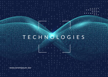 Abstract Tech Visuals. Digital Technology Background. Artificial Intelligence, Deep Learning And Big Data Concept For Networking Template. Vector Abstract Tech Visuals Backdrop.