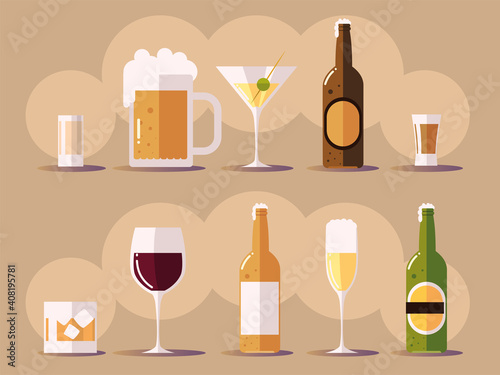 set icons with wine champagne beer botlles, cups with drinks © djvstock