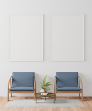 A Couple Of Mock Up Poster Frame In Modern Interior Background Behind Of Chair In Living Room With Some Trees, 3D Render, 3D Illustration