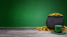 St. Patrick's Day. Green Leprechaun Hat With Clover And Treasure Pot Full Of Gold Coins. Green Background And Wooden Table. 3d Render