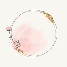 Glittery Round Floral Frame Vector