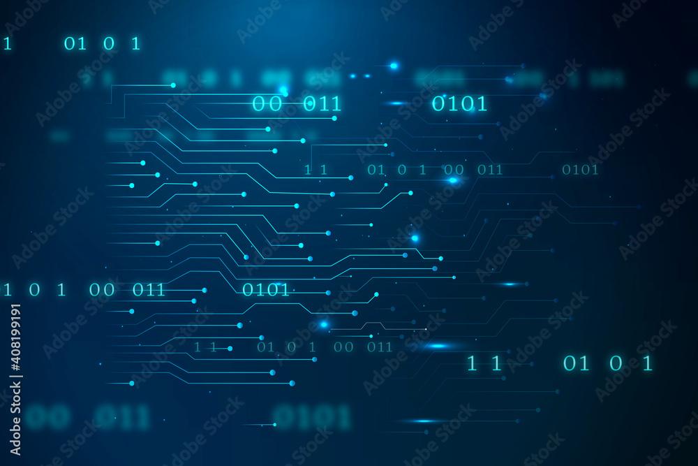 Fototapeta Blue futuristic networking technology vector