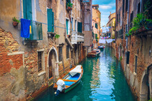 Waterfront Houses In Narrow Water Canal, Venice, Italy