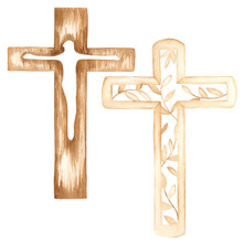 Set Of Two Watercolor Wooden Crosses. Can Be Used In Print Design, Easter Souvenirs And Other Creative Ideas.