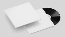White Vinyl Record Mockup, Blank Record Album With Disk 3d Rendering Isolated On Light Background