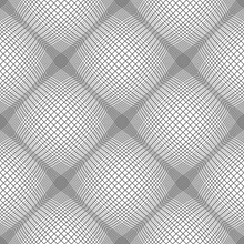 Seamless Checked Pattern With 3D Illusion And Grid Texture.