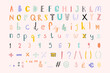Hand drawn vector alphabet numbers sign doodle font set
