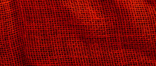 Background And Texture Of Red Sackcloth With Stitches Seam