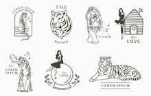 Black Line Collection With Woman, Fox,tiger.Vector Illustration For Icon,sticker,printable And Tattoo