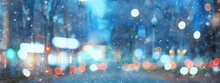 Abstract Snow Blurred Background City Lights, Winter Holiday New Year