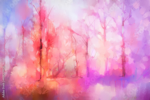 Fototapeta Illustration colorful autumn forest. Abstract image of fall season, yellow and red leaf on tree, field, meadow, outdoor landscape. Nature painting with oil paint. Modern art for wallpaper background obraz