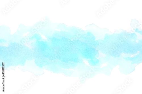 Obraz ブルーアブストラクト 水彩タッチ  背景は白  - fototapety do salonu