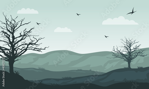 Fototapeta The warm atmosphere of the morning scenery on the edge of the city. Vector illustration obraz