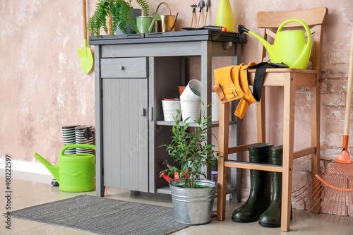 Cuadros en Lienzo Different gardening supplies in barn