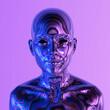 Leinwandbild Motiv Robot or Artificial Human made of iridescent plastic material in neon lights. 3d rendering illustration in sci-fi futuristic style.