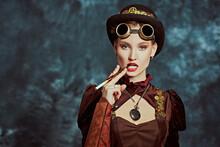 Smoking Steampunk Lady