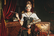 Model In Steampunk Costume