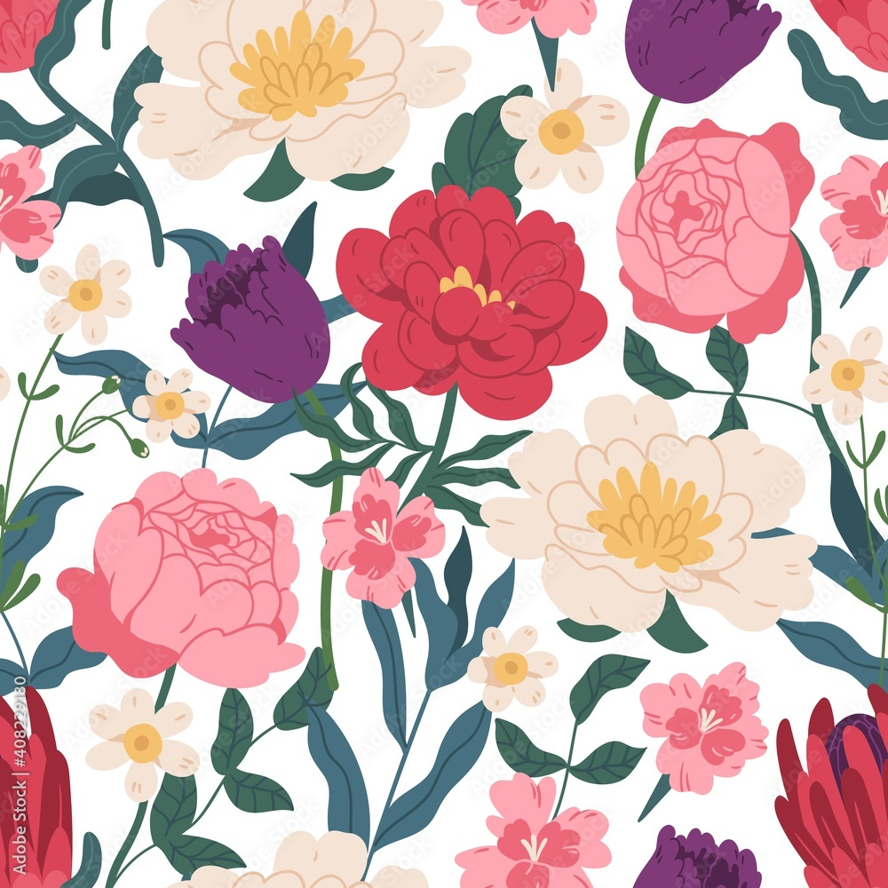 Fototapeta Gorgeous seamless floral pattern with peony roses, tulips and eucalyptus. Endless design with elegant spring flowers for printing. Repeatable botanical backdrop. Colorful flat vector illustration