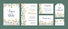 Set Of Vertical And Horizontal Card Templates And Labels With Floral Border And Place For Text. Design Of Wedding Invitation Decorated With Elegant Wild Yellow Flowers. Flat Vector Illustration